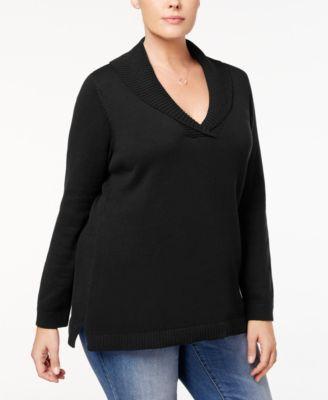 Charter Club Plus Size Shawl-Collar Sweater, Created for Macy's - Tan/Beige 0X