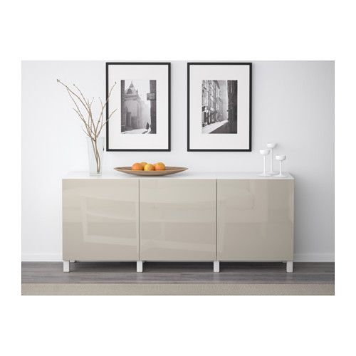 BESTÅ Storage combination with doors - white/Selsviken high-gloss/beige $295 IKEA -- color option for tv cabinet?