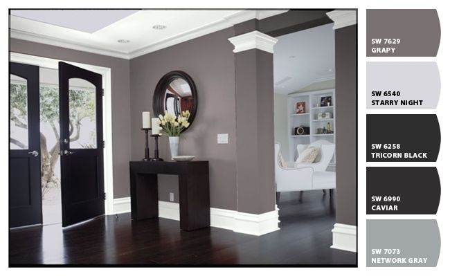 Chip It! by Sherwin-Williams – Mickisblues - blk, white, gray color scheme for guest room. May paint furniture blk or white