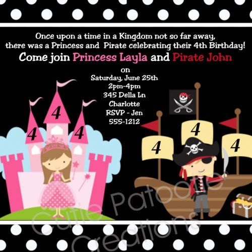 Princess and Pirate Birthday Party Invitation Pirate Princess Birth......