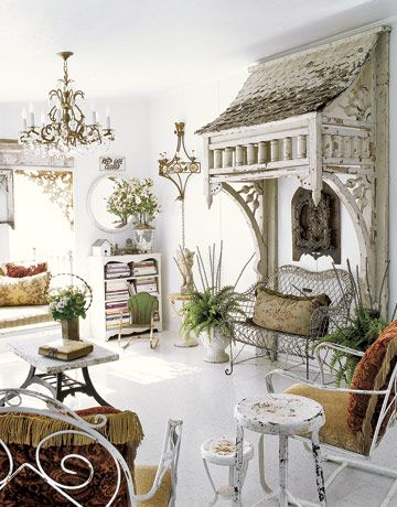 architectural salvageDecor, Ideas, Shabby Chic Style, Mobiles Home, Sunrooms, Living Room, House, Sun Room, Shabbychic