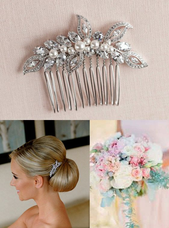 Bridal Hair Comb Vintage style hair comb Crystal by CrystalAvenues