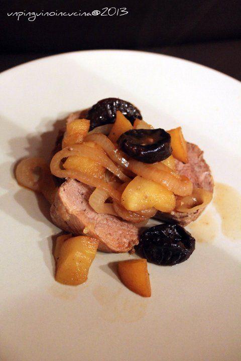 Filetto di maiale alla birra con mele e prugne   Un Pinguino in cucina