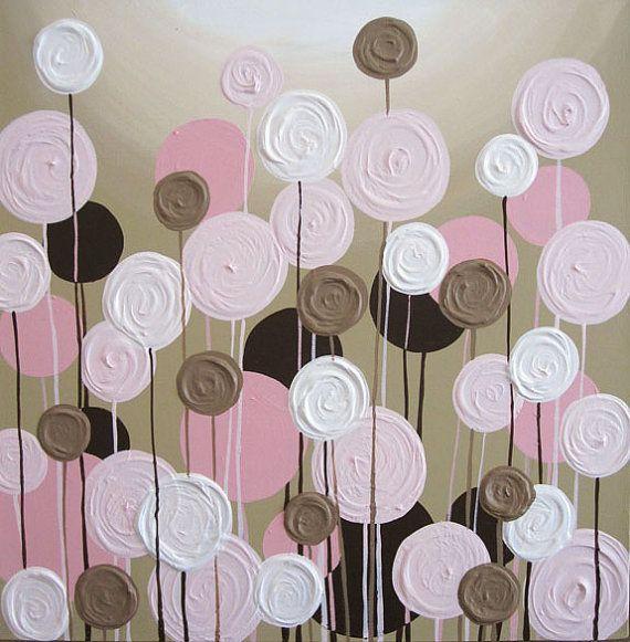 Rosa y marrón vivero arte textura flores conjunto de dos