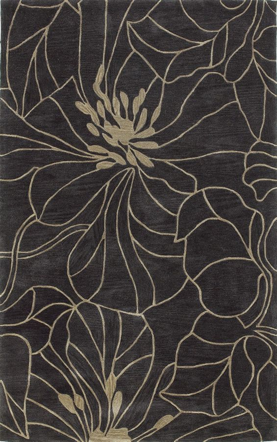 KAS Bali 2816 Charcoal and Taupe Floral Chic Area Rugs at Bold Rugs | Free Shipping and Huge Savings