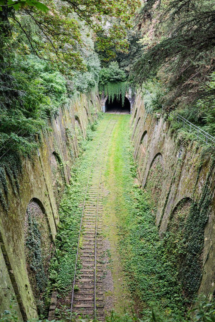 """The abandoned Petite Ceinture Railway Line (""""Little Belt Railway"""") passing through the Parc Montsouris in the 14th arrondissement of Paris, France."""
