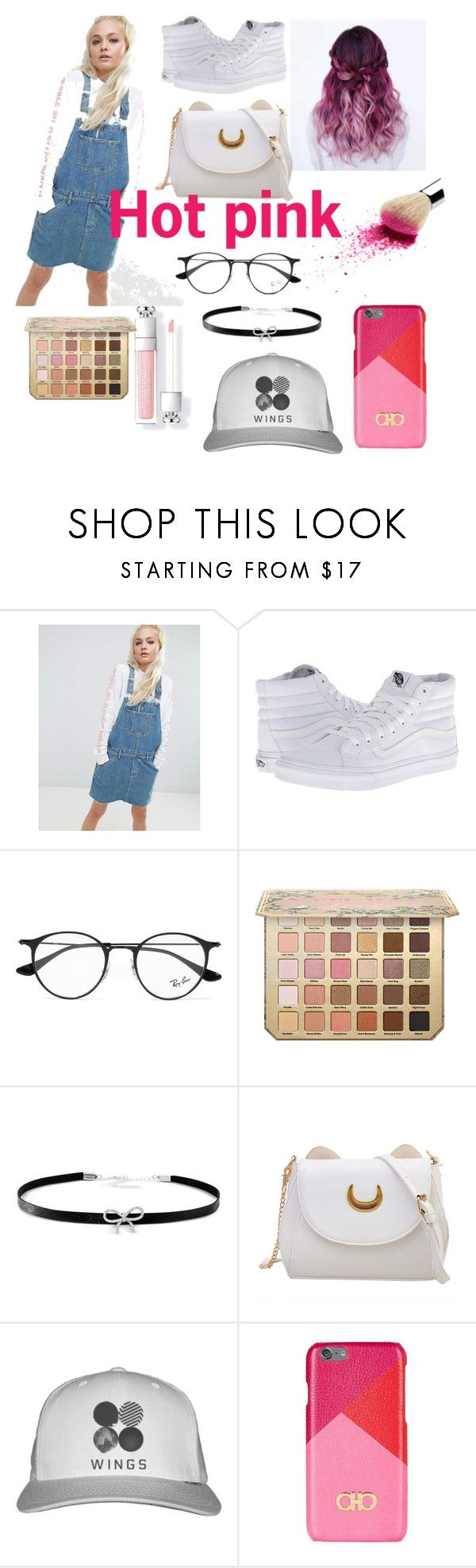 """""""Hot pink💕"""" by yinyangme ❤ liked on Polyvore featuring ASOS, Vans, Ray-Ban, Giani Bernini and Salvatore Ferragamo"""