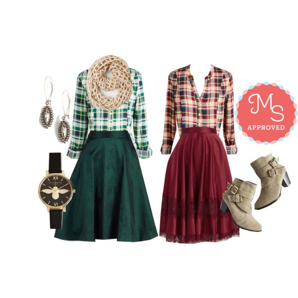 In this outfit: Trusty Travel Top in Green Plaid, Trusty Travel Top in Red Plaid, Twirl Power Skirt, Watch Oval Me Earrings, Bee There in a Minute Watch, My Kind of Twirl Skirt, I Fame to Please Bootie