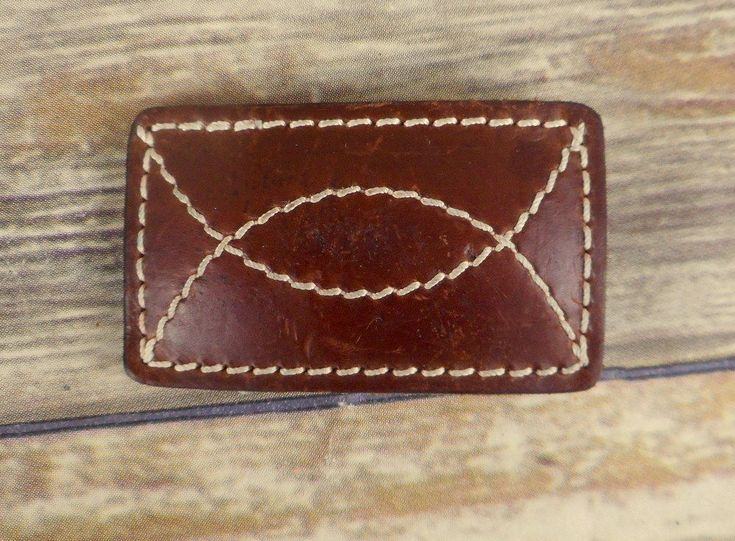 Brown Leather Belt Buckle Vintage Country Western Rockabilly White Cowboy Unisex #Unbranded