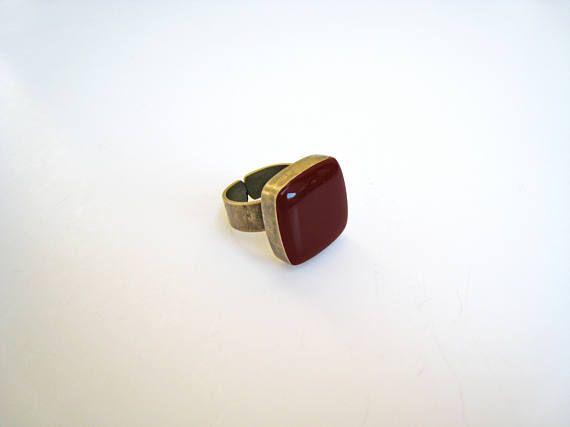 Dark red ring bronze burgundy statement ring garnet marsala