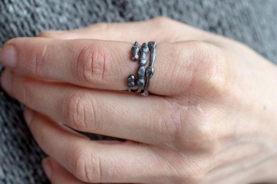 zwarte plant sterling zilver open ring geoxideerd gesmolten