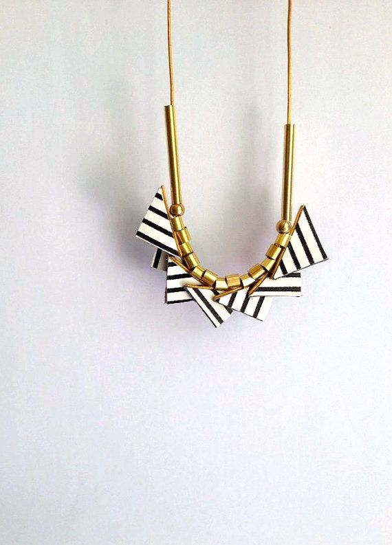 Long Leather Necklace - Minimalist Leather Necklace - Leather Necklace with black and white striped triangles - Geometric Necklace on Etsy, $44.86