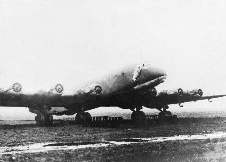 Ju 390 transport with six B.M.W. 801 engines. Pictured abandoned on a German airfield, the propellers have been removed to disable the aircraft.