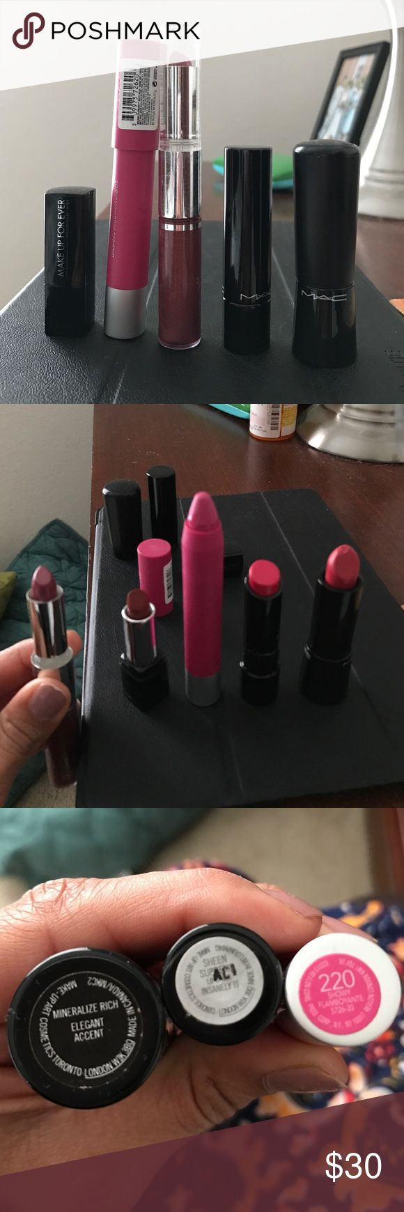 Lip Bundle MAC Revlon Makeup Forever Clinique Bare All is either unused or swatched. These have been sitting in my drawer not used. One of the MAC lipsticks is messed up but not used. Name of colors are Mac Insanely It. Mac Elegant Accent. Revlon 220 Showy. Makeup Forever Rouge. Clinique 33 Raspberry Glacé and 13 Fireberry. Bare Minerals Dare Devil. Willing to separate if you would like. Let me know if you have questions. Willing to throw in my other lip gloss and liner listed in my closet…