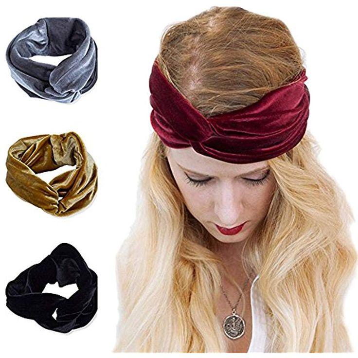 AWAYTR Turban Stirnband für Mädchen Vintage-Stil Samt weich elastisch #Bekleid…