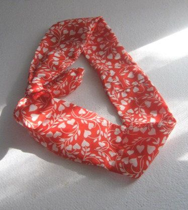 Pin Up Bandana Knotted Bandana Red and by CrochetnMoreByAlida, $11.00