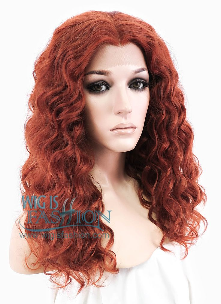 """14"""" Medium Curly Reddish Orange Made-To-Order Lace Front Synthetic Hair Wig…"""