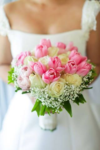 Tulip Bouquet. Love tulips, roses, and white and pink together. I like classic, tidy bouquets wrapped in satin ribbon.