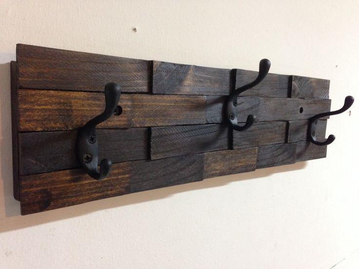 Rustic wall mount wood shim coat hook rack - 3 oil rubbed bronze coat hooks, dark walnut stain - vintage, country, entryway, storage, distressed