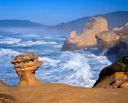 Cape Kiwanda Sandstone formations - Oregon coast;  photo by David Jensen