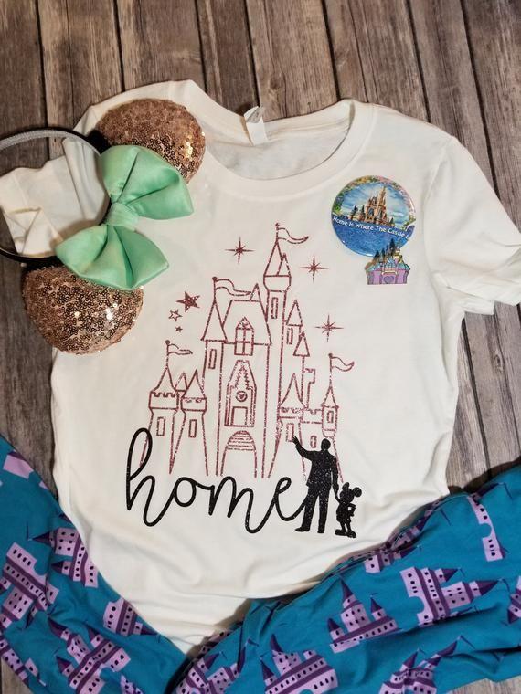 Rose Gold Disney Castle Home Shirt Disney Shirts Disney Shirt