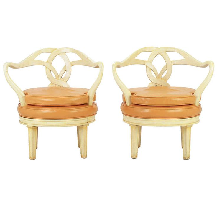 Pair of Italian Empire Carved Wood and Leather Swivel Chairs | 1950
