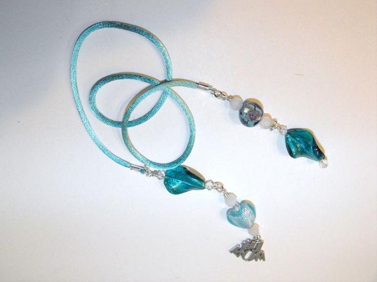 mom book thong bookmark aqua murano lampwork beads ssp