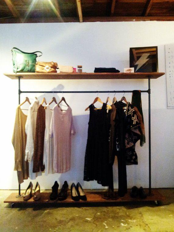 TOP SHELF STORAGE Garment Rack : Industrial Black Steel Clothing Rack