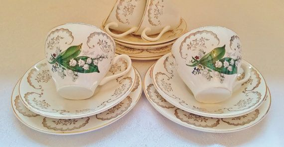 Vintage Tea Cup Set Saucer Side Plate British Green Golden China Porcelain Lily Of The Valley Spring