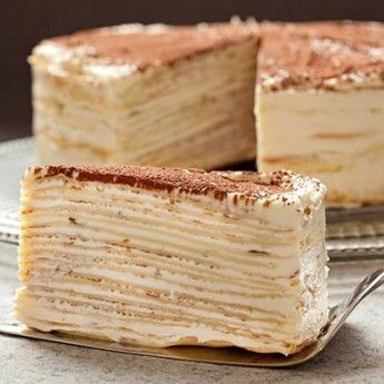 Mille-Crêpe Tiramisu Birthday Cake ~ Crêpes are pancakes that are usually thinner than regular ones, and this time we offer you to make a Tiramisu cake with the crêpes
