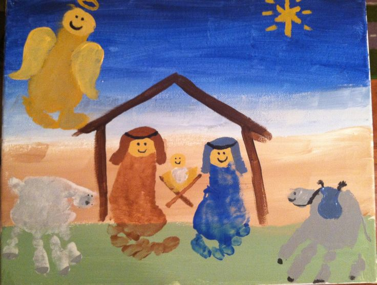 Hand and Footprint Nativity Scene