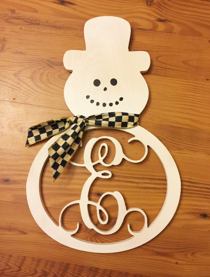 Snowman Wooden Monogram Christmas Wood Crafts Christmas