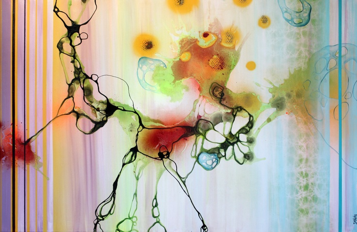 Art by Rikke Darling - A spin (100x150 cm) - www.rikkedarling.com #painting #art #contemporary #kunst #maleri #orange #green #lime #blue #purple #red #black