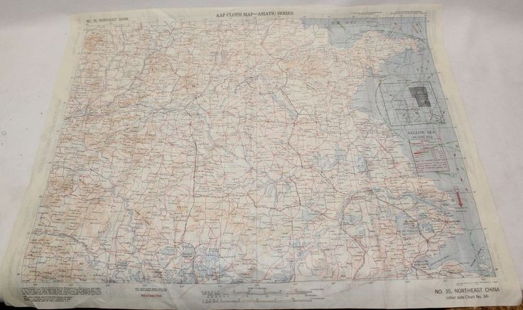 WWII US Army Air Corps Cloth Survival Escape Map 34 35 South North East China #US #WWII #Map #survival #escape #cloth