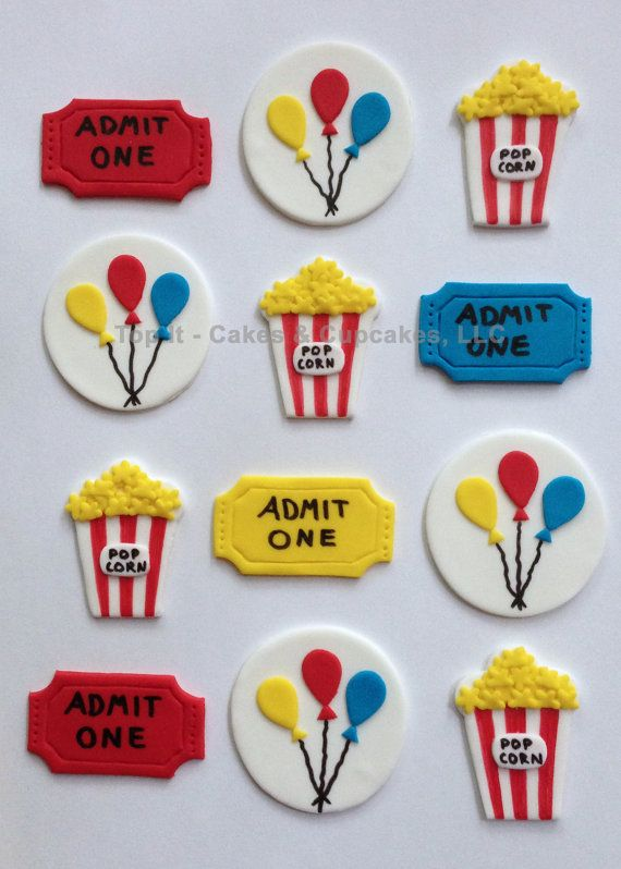 Fondant Cupcake Toppers - Carnival/Circus on Etsy, $18.99
