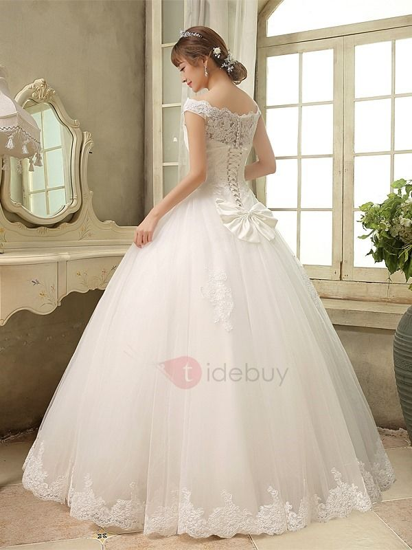 Tidebuy.com Offers High Quality Scalloped Lace Top Off the Shoulder Ball Gown Wedding Dress, We have more styles for Ball Gown Wedding Dresses (Free Shipping)