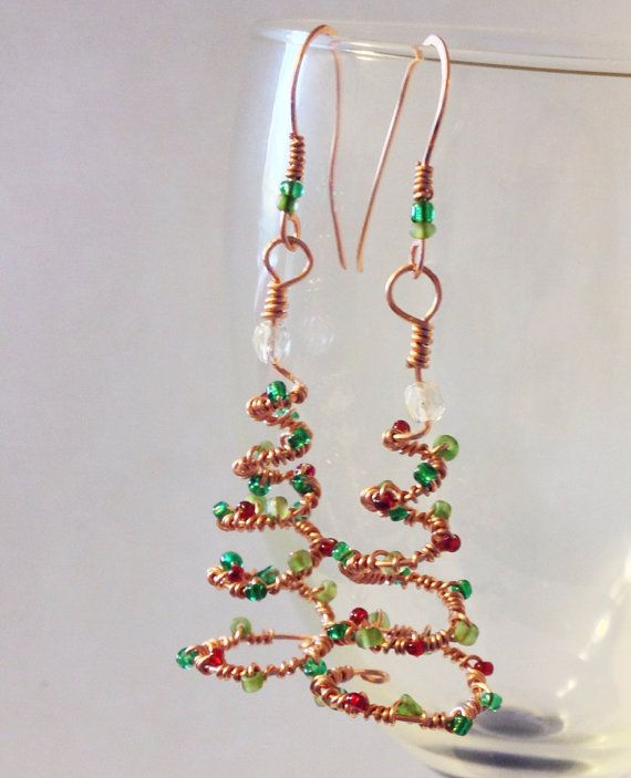 Handmade Wire Wrapped Christmas Tree Earrings Copper Wire