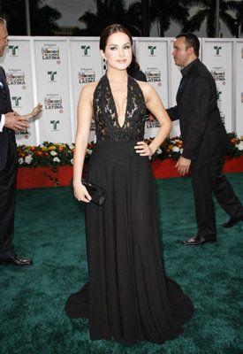 Danna Garcia telenovela actress wearing gown by Eduardo Lucero
