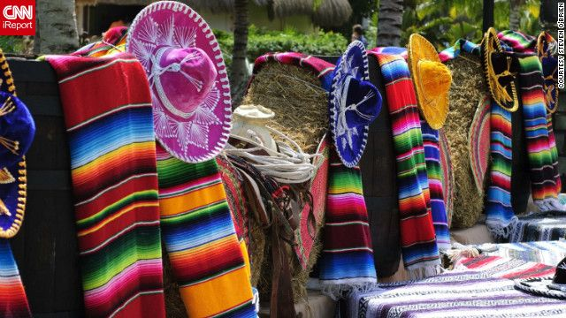 """Steven O'Brien shot this photo of """"a simple display of blankets and hats that bring out all the vibrant colors of Mexico.""""Beach Colors, Search, Vibrant Colors, Mexico Beach, Viva Mexico, Mexico Lindos"""