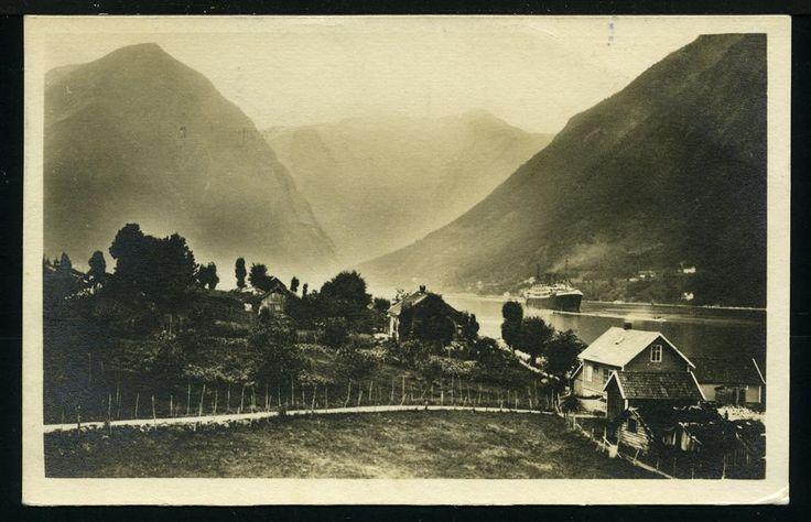 BALHOLMEN i Sogn og Fjordane - Blick auf den Essefjord, Norddeutscher Lloyd, Bremen, tysk kort i småformat Ocean Comfort Co. Polarfahrt 64, stp. TROMSØ 24.7.1926,