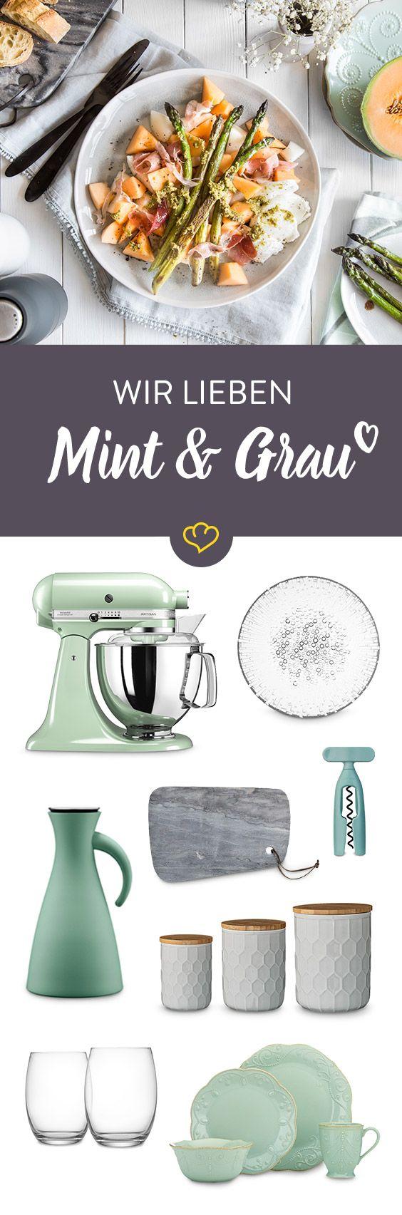 Minimalistisches Grau und pastelliges Mint sind die neue Traumkombination für deine Wohnung! Wir sind ganz verliebt in die süßen Küchenhelfer und stylischen Deko-Artikel.