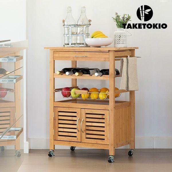 DESSERTE DE CUISINE EN BAMBOU TAKETOKIO   la desserte de cuisine en bambou  TakeTokio, un bois résistant et sans allergène. Cette table roulante est parfaite pour ranger et organiser les aliments, les boissons, les ustensiles de cuisine, etc.  Fabriquée en bois de bambou 1 tiroir avec poignée en métal Espace pour les bouteilles (5 bouteilles max.) Panier coulissant métallique Poignée latérale métallique pour pousser facilement 4 roues pour faciliter le transport