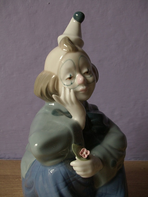 vintage clown figurine porcelain Mexico by ShoponSherman on Etsy, $14.00