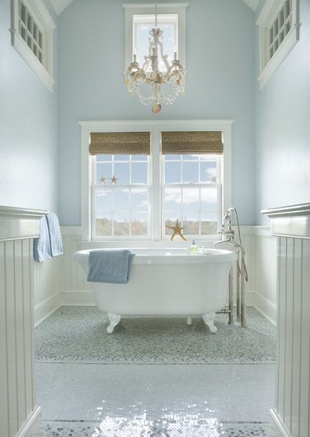 For a blue cottage bath with special charm, Farrow & Ball's Borrowed Light and Sherwin Williams Hinting Blue are excellent color choices.