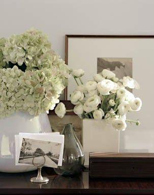 Tabletop Vignette ~ Fresh Flowers, Family Photos