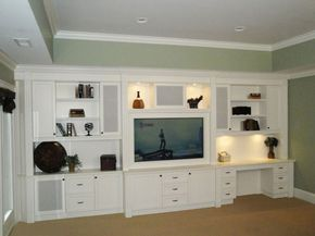 Entertainment Center Desk Combination Fire Place With Built In