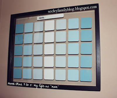 DIY Paint Chip Wall Calendar | seeleyfamilyblog.blogspot.com ~ I LIKE THE COLORS AND THE FLOATING FRAME CONCEPT.  EASIER ASSEMBLY!