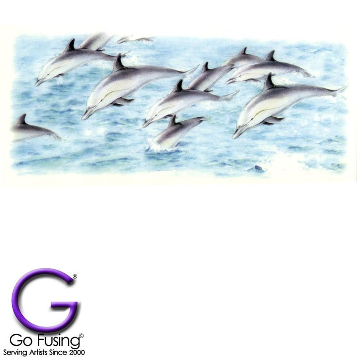 Dolphin Pod Fused Glass Waterslide Decal Products