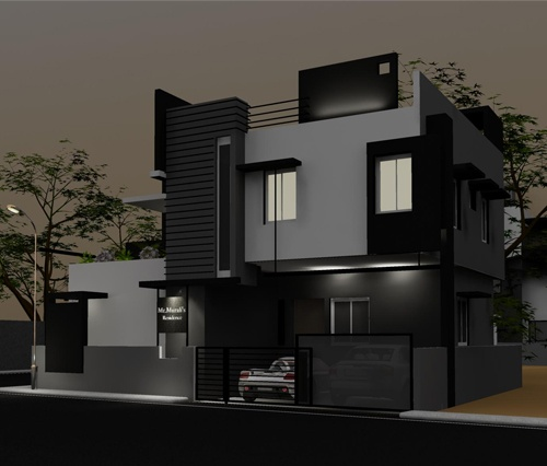 Evening view of front elevation side view for murali 39 s for Home elevation front side