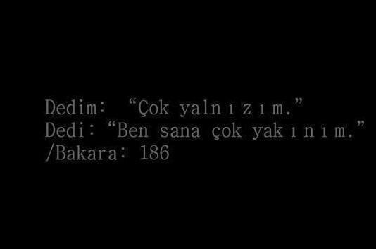 """Dedim: """"Çok yalnızım."""" Dedi: """"Ben sana çok yakınım.""""  Bakara / 186"""